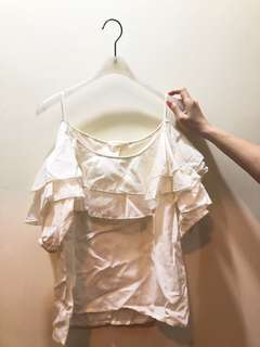 H&M 白色露肩上衣 新