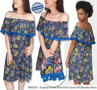 Dressbarn tropical flower print with tassel off shoulder dress