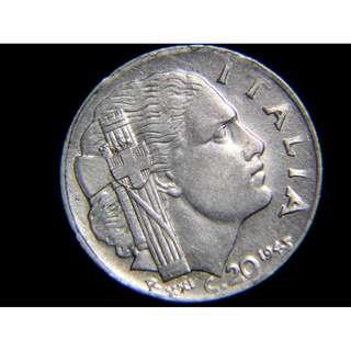 1943年意大利王國(Kingdom of Italy)法西斯女青年頭像20仙鋼幣(意皇埃曼奴爾三世像)