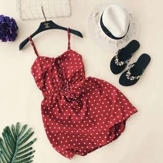 Polka Dots Dress with Inner Pants