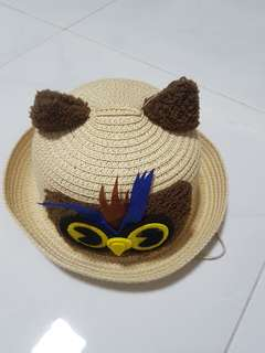 straw hat with string for kids