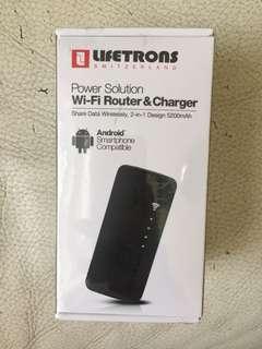 瑞士LIFETRON WiFi router and charger高端Wi-Fi無線路由器與充電器無線共享數據,5200mAh二合一版