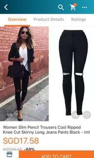 Women's black ripped jeans