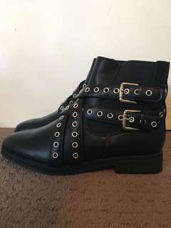 NEW Nastygal black studded boots size 8
