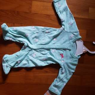 Carters baby suit with grey rabbit prints