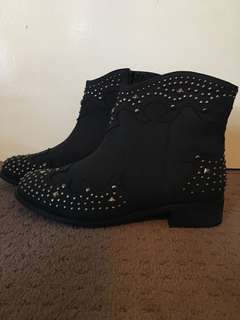 NEW nastygal black studded cowgirl boots size 8