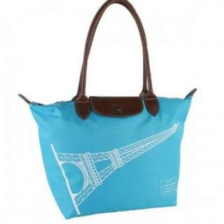 CLEARANCE Longchamp le Pliage Eiffel Tower Limited Edition Large Long Handle (Blue)