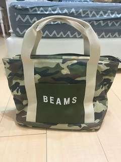日本品牌BEAMS 迷彩手提肩背包