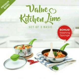 Set Panci & Wajan Value Kitchen Lime Set of 3 Basic