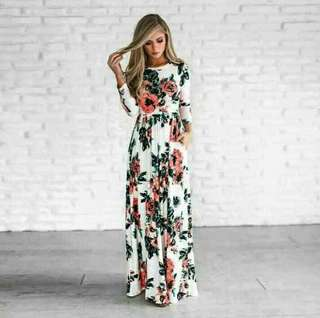 Beautiful Floral Women Dress Long Maxi Long Sleeve Printing Dress,
