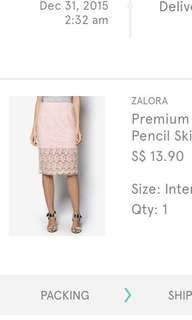 Premium organza underlayer pencil skirt