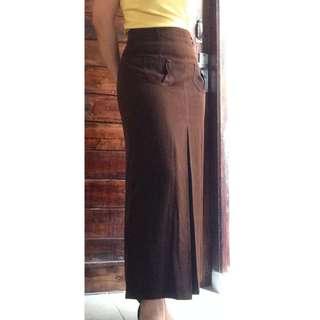 REPOST - Dark Brown Long Skirt