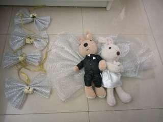 (結婚物資)結婚公仔Wedding Le Sucre 情人兔,送蝴蝶結裝飾