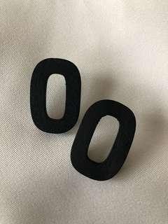 wood oval earring