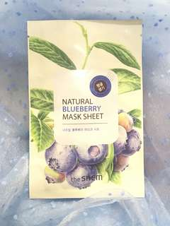 Natural blueberry mask sheet
