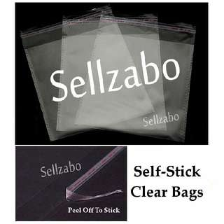 Clear Bags : Self Stick Sellzabo Many Sizes Group See Through Storage Opp Package Packing Transparent Casings Stationery