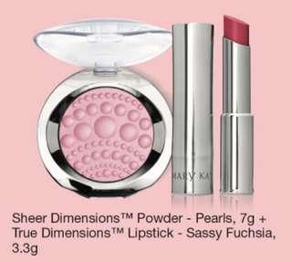 Mary Kay Sheer Dimensions Powder & True Dimensions Lipstick Sassy Fuchsia
