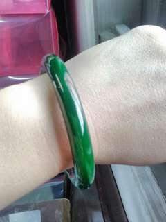 綠玉髓圓骨手鐲  手圍19