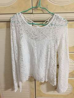 Hollister bell sleeves white lace top set