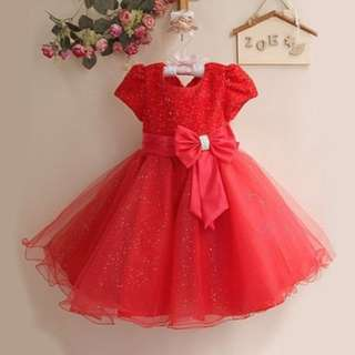 Shimmering Butterfly Bow Girls Dress RED