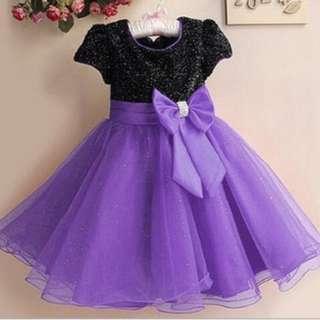 Shimmering Butterfly Bow Girls Dress Black & Purple