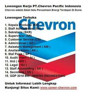 Lowongan Kerja PT Chevron Pacific Indonesia