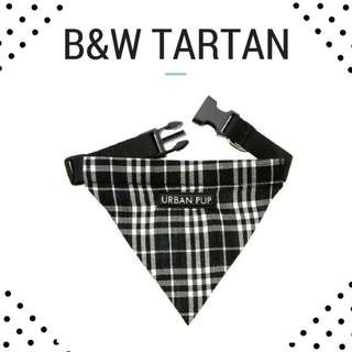 "Bandana Collar for Dog and Cats ""B&W Tartan"""