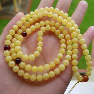 Amber with cert 6.5mm 108beads