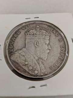 Straits Settlement $1 Coin (1908)