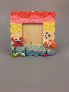 Wood Photo Frame with Snow Clay