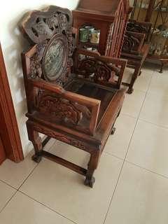 Antique hardwood arm chairs 2 units
