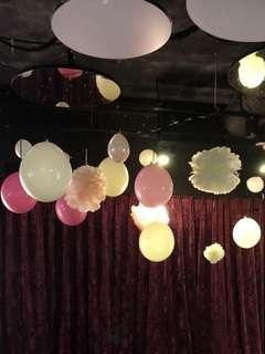 Ceiling Drop Down Balloon with Pom Pom Decor