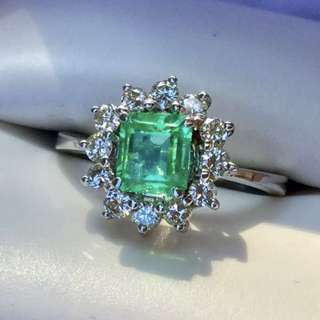natural emerald and diamond ring 綠寶石 白金介子