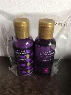Innisfree cotton flower body lotion and cleanser set!