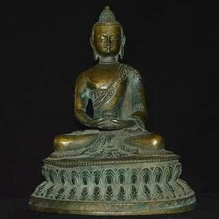 西安古寺結緣 古銅製 釋迦摩尼像 品相殊勝