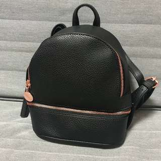Ladies mini  Backpack in pvc leather black colour