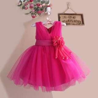 Hot Pink Wedding Dress Flower Girl Dress