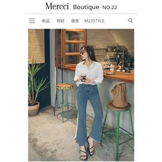 mercci22 下擺不規則喇叭褲