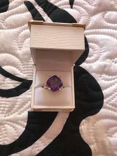 Solid 9ct white gold amethyst ring