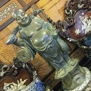 Antique Chinese Bronze Big Tall Laughing Buddha Heavy
