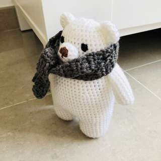 Handmade crochet polar bear
