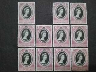 Malaya 1953 Coronation Queen Elizabeth II FOR 11 States - 11v MLH Malaya Stamps