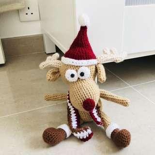 Handmade crochet xmas reindeer