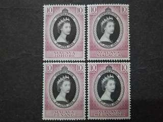 Malaya 1953 Coronation Queen Elizabeth II FOR 4 States - 4v MLH & MH Malaya Stamps