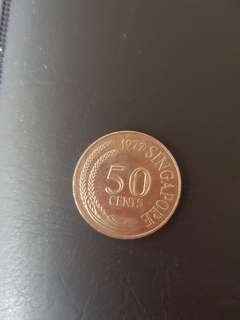 Old Singapore 50 cents coins