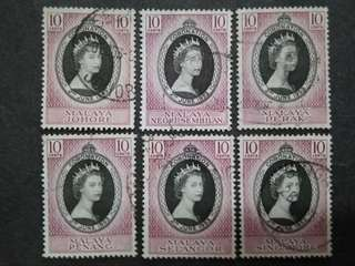 Malaya 1953 Coronation Queen Elizabeth II FOR 4 States - 4v Used Malaya Stamps