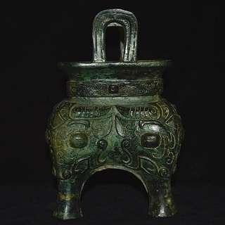 大陸鄉下收集 戰漢時期 青銅鑄 四足雙耳靈獸饕餮紋 鼎