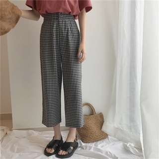 [PO] chic gingham pants
