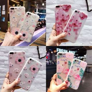 Case casing HP Flower Pastel cantik iPhone/Oppo
