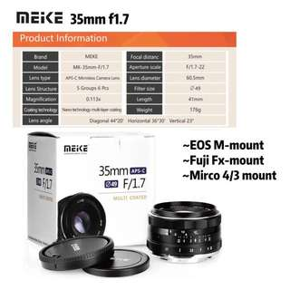Meike 35mm F1.7 Large Aperture Manual Prime Fixed Lens